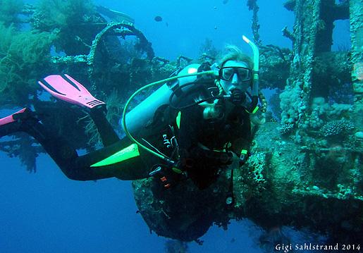 Jag vid vraket Cedar Pride, hon ligger på 16-26 meters djup i Aqabaviken.