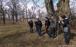Här står gänget som var med på vårens premiärguidning vid Svartsjöviken. De står bredvid en av Sveriges äldsta parklindar, planterad 1620 och är den bredaste. Man tror den blev planterad upp och ner! I bakgrunden Svartsjö slott.